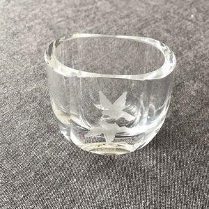 Orrefors Crystal Art Glass Vase with Etched Birds